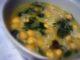 Soupe de pois chiches et épinards