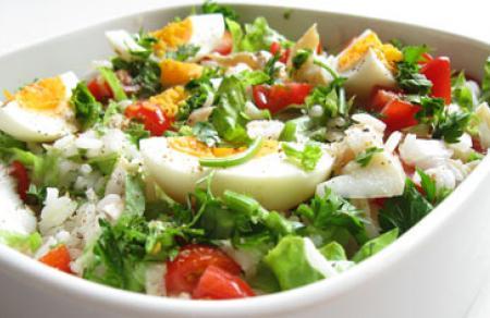 Salade de morue et riz